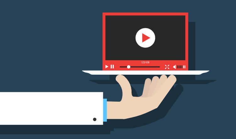 Hand reicht Videoscreen
