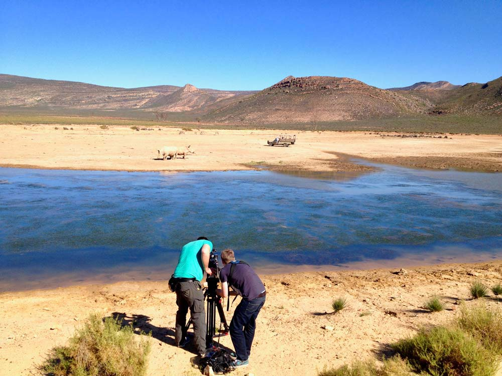 Kamerateam in Südafrika dreht Nashörner